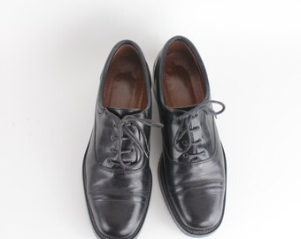 size 8 | Joan & David Black Leather Oxfords | Vintage Black Calfskin Brogues | 38.5