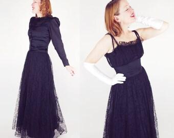 30s 40s Black Lace Long Gown & Satin Jacket- Fashion Originators Bullocks Wilshire M