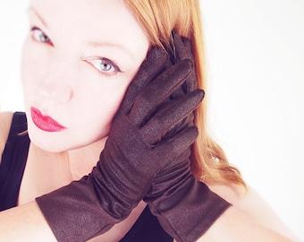 50s Dark Brown Nylon Knit Gloves by Crescendoe L 7.5