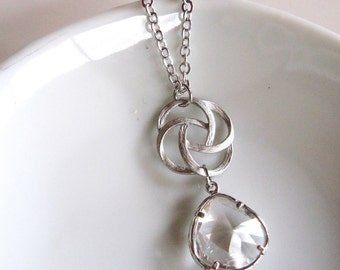 Clear Crystal Necklace, Bridal Silver Swirl Necklace, Glass Teardrop, Wedding Jewelry, Brides Necklace, Gardendiva