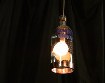 Absolut Vodka Bottle Pendant Lamp with Shiny Copper Trim