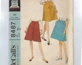 1960s Vintage Sewing Pattern McCalls 8487 Plus Size Half Misses A Line Skirt with Pockets Size 18 1/2 Waist 33 1966 60s  99