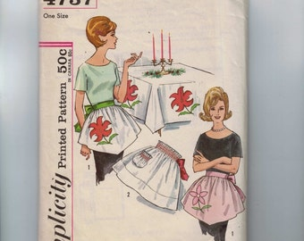 1960s Vintage Sewing Pattern Simplicity 4737 Misses Hostess Apron with Flower Applique Smocking One Size 60s