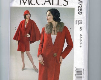 REPRODUCTION Misses Sewing Pattern McCalls M7259 7259 Archive Collection 6995 1920s Style Coat and Cape Size 6 8 10 12 14 16 18 20 22 UNCUT