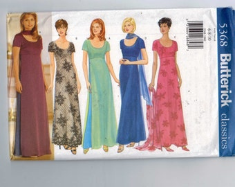 1990s Vintage Misses Sewing Pattern Butterick 5368 Misses and Petite Easy Evening Dress Gown Size 6 8 10 or 12 14 16 or 18 20 22 UNCUT  99
