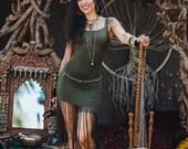 New! MIRABELLE GYPSY DRESS - Organic Boho Bohemian Hippie Fairy Faery Pixie Ethnic Burning man Tribal Native American Tassel Goa - Black