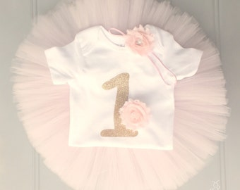 Pink and Gold Cake Smash Outfit Girl, First Birthday Outfit Girl, 1st Birthday Outfit Girl, First Birthday Tutu, 1st Birthday Tutu Skirt Set