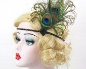 Peacock Feather Fascinator, Flapper Headband, Great Gatsby Headpiece, Feather Headband, Black Headband, Crystal Hair Accessory, Bridesmaids