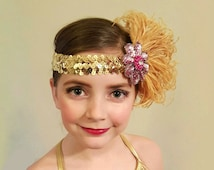 Gold Feather Headband, Bellydance Costumes, Girls Dance Costume, Flapper Feather Headband, Great Gatsby, Pink Feather Fascinator
