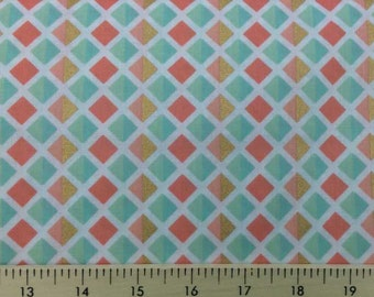 Mint & Peach Gold Diamond Fabric By the Yard or Half Yard Geo Diamonds Fabric Gold Diamond Fabric Cotton Quilting Apparel Fabric a5/3