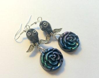 Black Sugar Skull Silver Eyes and Angel Wings and Black Roses Earrings