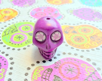 Purple Flower Eyes in Gigantic Purple Day of the Dead Sugar Skull Bead or Pendant