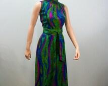 Vintage 60's Jumpsuit . Hawaiian Palazzo Jumpsuit . Swirled Jewel Toned BarkCloth Fabric . M L
