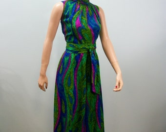 Vintage 60's Jumpsuit . Hawaiian Palazzo Jumpsuit . Swirled Jewel Toned BarkCloth Fabric . M L