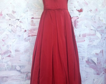 Vintage Strapless Red Satin Dress