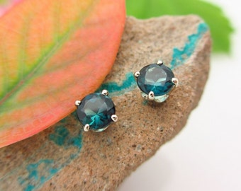 Blue Tourmaline Earrings in 14k White Gold with Genuine Gems, 4mm, Pair Four