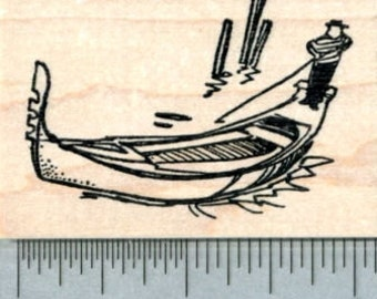 Gondola Rubber Stamp, Venice Gondolier H30909 Wood Mounted