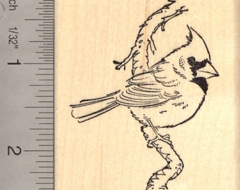 Cardinal Bird on Branch Rubber Stamp J13302 Wood Mounted
