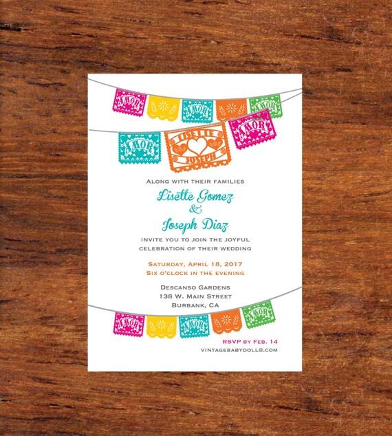 Invitation Printable Papel Picado Wedding Heart Fiesta Engagement Fiesta Rehearsal dinner Couples shower or Bridal Shower