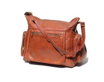 Vintage Copper Brown Leather Travel Bag / Duffel Bag / Weekend Travel Bag