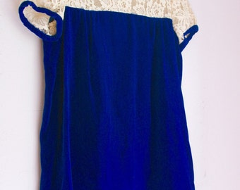 Vintage girls party dress velour and lace holiday outfit 4t 5t