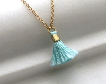 Tiny Tassel Necklace Tassel Pendant Fringe Necklace Tassel Jewelry Boho Tassel Petite Necklace Miniature Tassel Drop
