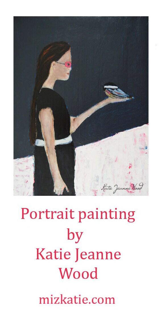 Original Acrylic Figure Painting. Mixed Media Collage Art. Girl & Bird Portrait. Pink Masquerade Mask. Girls Room Wall Decor. Miz Katie Art