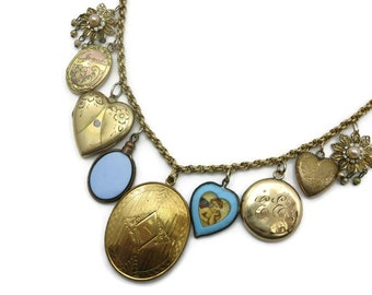 Vintage Charm Necklace - Vintage and Antique Charms, Fob, Locket Necklace , Hearts, 12k Gold Fill Chain