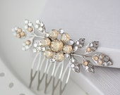 Bridal Comb Golden Shadow Wedding Hair Comb Small Crystal Hair Comb Rhinestone Leaf Comb Wedding Hair Jewelry Hair Accessory MACY