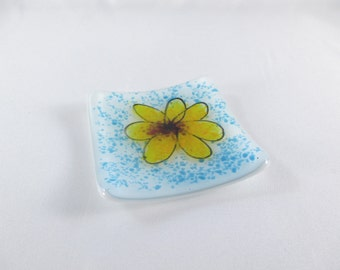 Small Square 3 Inch Fused Glass Ring Dish Yellow Flower Blue Background