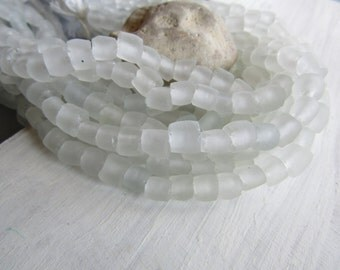 white  Recycled glass bead,  irregular barrel tube beads,  clear translucent frosted matte, Indonesia, 16 pcs 6ak8-3