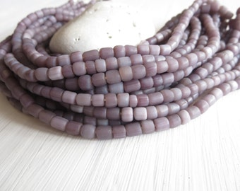 Small seed grey purple bead glass beads, matte rustic, small spacer  barrel tube Modern Indo-pacific - 3 to 6mm / 22 inches strand  6A14-20