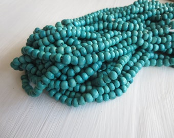 Mini blue wood beads, small round wood beads , painted finished wood, turquoise tone, exotic natural material Indonesian (70 beads)5A21-1