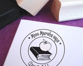 Customized Book and Apple Teacher Stamp | Teacher gift | From the classroom of | From the desk of | this book belongs to