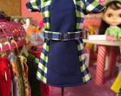 Super Mod Blue and Green Plaid Blythe Doll Dress
