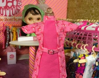 Super Mod Pink Design Blythe Doll Dress