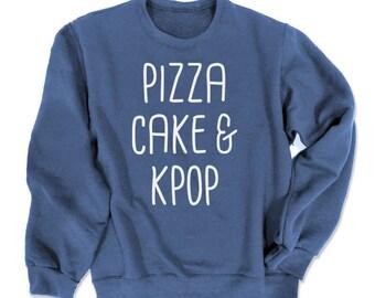 KPOP Sweatshirt pizza cake & kpop sweater cute korean sweatshirt kawaii hipster k-pop fandom