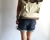 Christmas big SALE 30% - Allison in Two Tone backpack,leather backpack,Canvas Satchel Rucksack,Laptop bag,Tote,Unisex, Christmas Gift