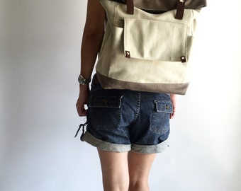 Brown two tone Canvas backpack,leather strap laptop satchel, Unisex canvas rucksack, diaper bag backpack  / SALE 30% - no.105 ALLISON