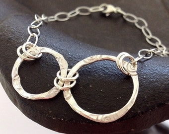 Sterling Silver Textured and Stamped Rings Chain Bracelet