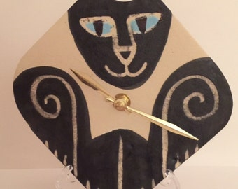 Wall clock: handmade Siamese Cat whimsical designer Pottery kitty lover Veterinary Pet Resort art feline happy playful ceramic wall decor