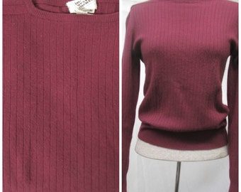 Vintage 1970's Cashmere Pullover Sweater In-Vest-Ments Label Maroon Ribbed Boat Neck M