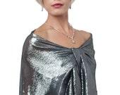 Promo Sale Evening Wrap, Shawl. 100% Silk. Shimmer Metallic Silver/ Black