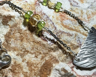 Silver and Gemstone Necklace, Hammered Fine Silver Pendant, Peridot and Citrine, Silver and Sparkling Gemstone Necklace by LindaGeez