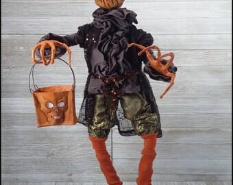 Handmade OOAK Halloween Bend-able pose-able JOL Pumpkin Head Goblin Skull Trick er Treat