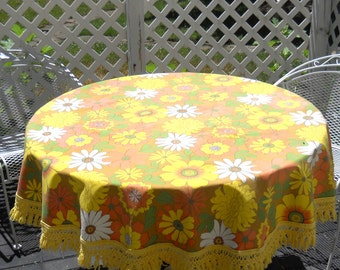Fun Vintage Round Floral Tablecloth • 1970s Bold Floral Tablecloth • Yellow Green Orange with Fringe