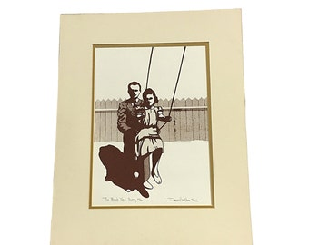 Original Romantic Backyard Swing Signed Art, Vintage Mat Framed Authentic Art, Retro Romance Love