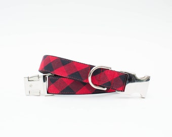 Buffalo Check Dog Collar in Red and Black