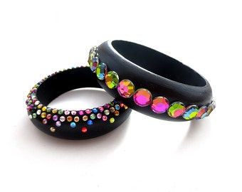 Hand Painted Black and Rainbow Vitrail Rhinestone Cuff Bracelet, Virtail Rhinestone Cuff Bracelet, Wooden Rhinestone Bracelet, Black Cuff