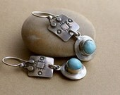 Earrings Blue Larimar in Simple Sterling Silver Settings with Southwestern Style Stampings in Sterling Silver . Rustic Style Jewley